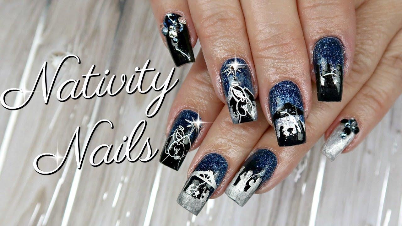 Nativity Gel Nail Art on My Mom\'s Nails | Watch Me Work - YouTube