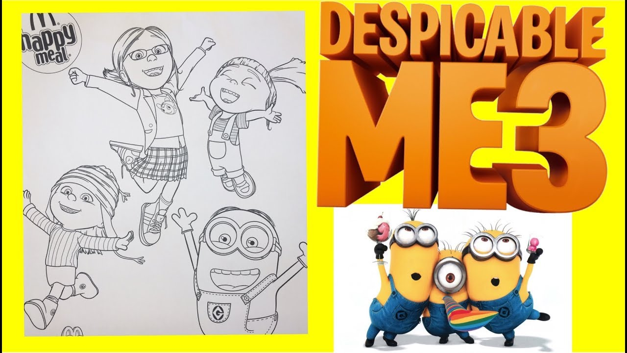 despicable me 3 happy meal coloring page minion agnes margo edith