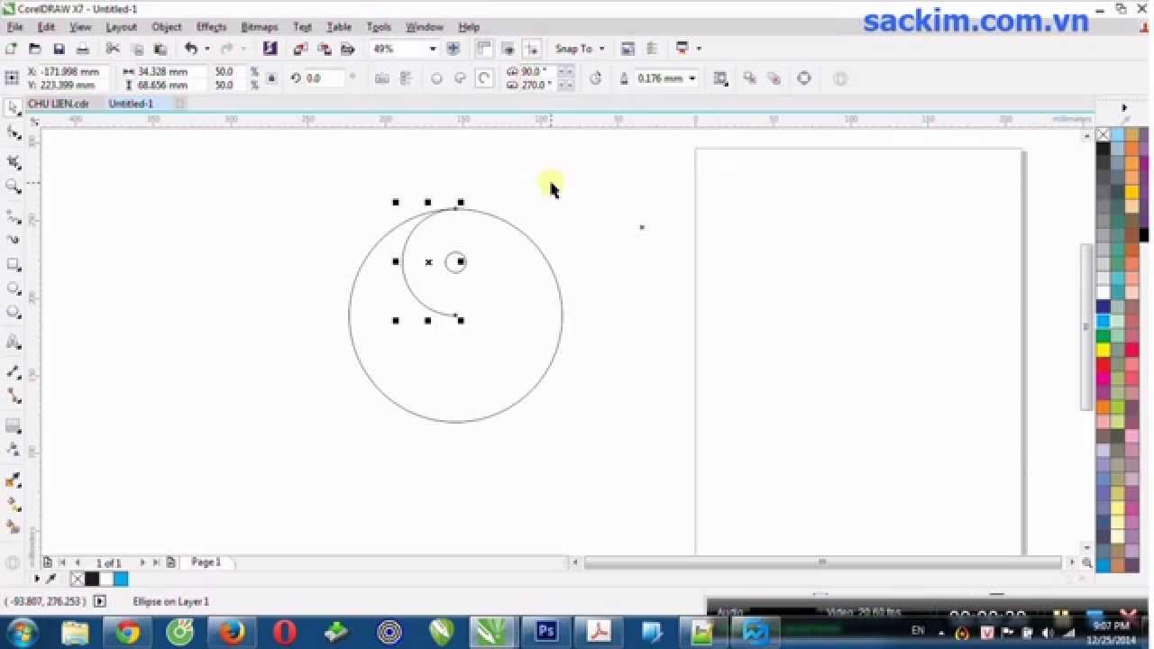 Hướng dẫn vẽ hình bát quái trong Corel X7