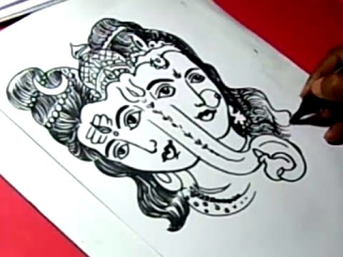 How to lord shiva parvathi ganesha drawing for kids step by step