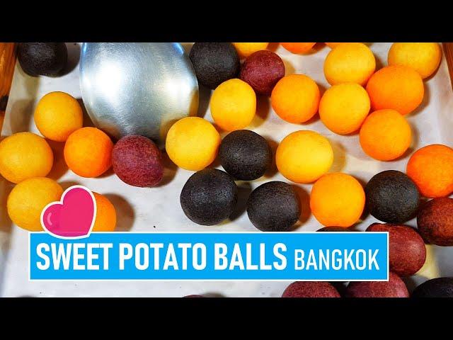 SPOTTED Sweet potatos cooking / Bangkok / Ratchada Train Market / 25.02.2020