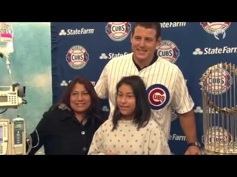 Anthony Rizzo Brings the World Series Trophy to Lurie Childrens Hospital