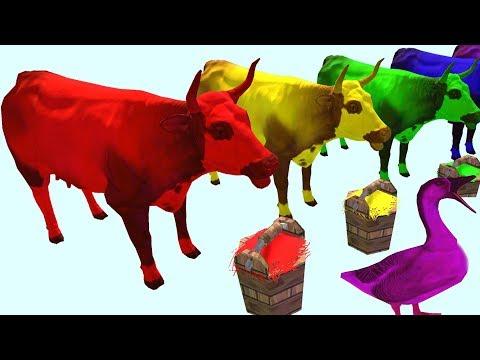 Учим цвета с животными ЦВЕТНЫЕ КОРОВЫ КОШКИ ГУСИ Learn colors with animals COWS CAT GOOSE ДитяткоТВ