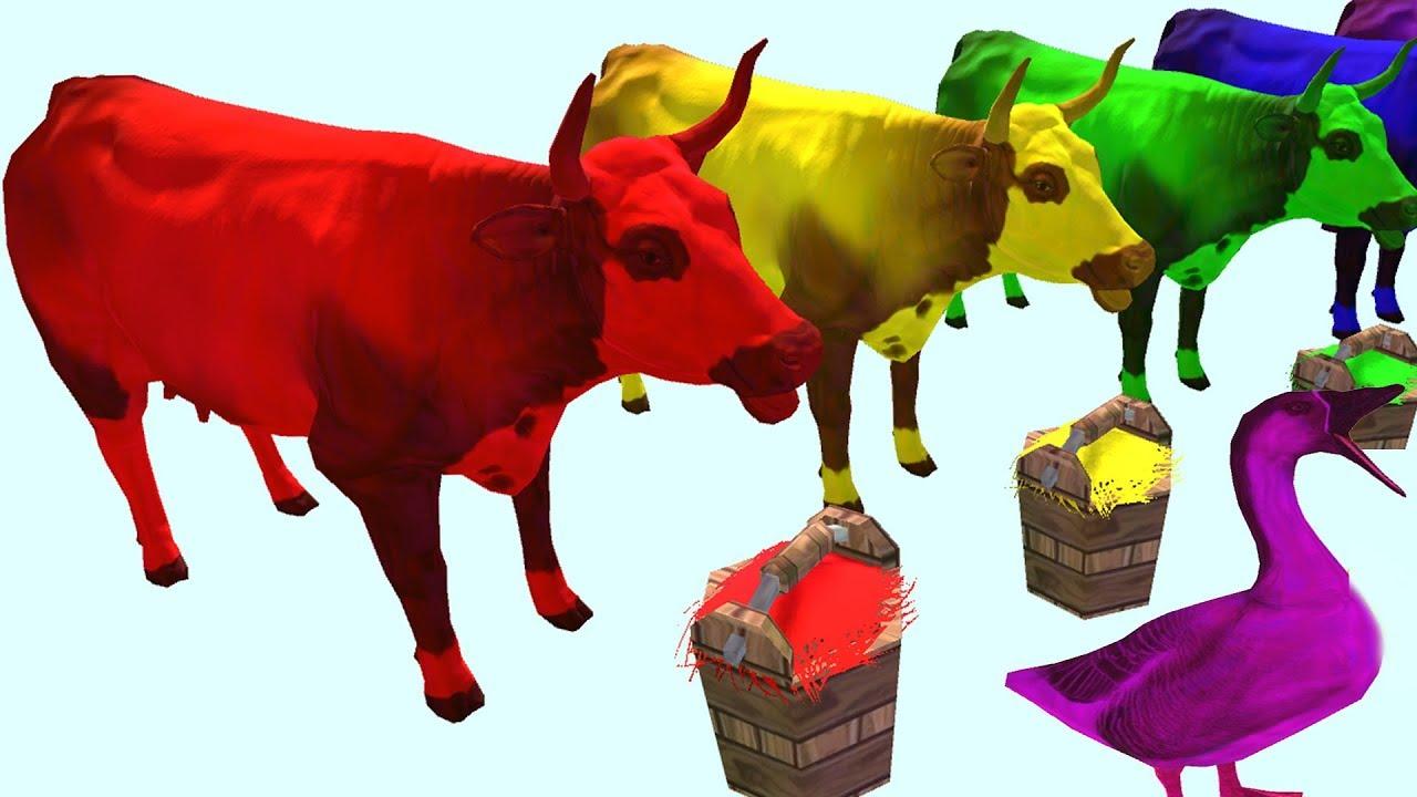 Животные Дитяткотв|Pig's Cats Разноцветные Коровьи | учим домашних животных видео