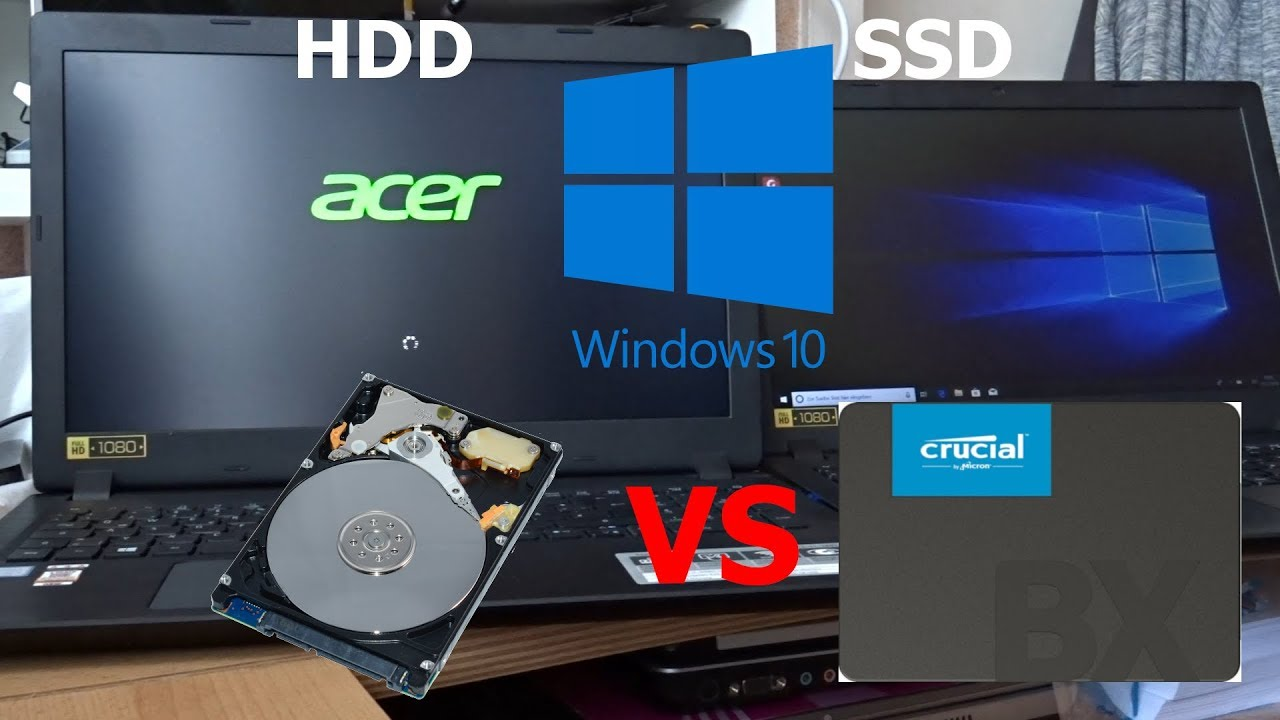 Acer Aspire 3 Crucial BX500 SSD vs HDD Boot time-loading APPS-Shutdown