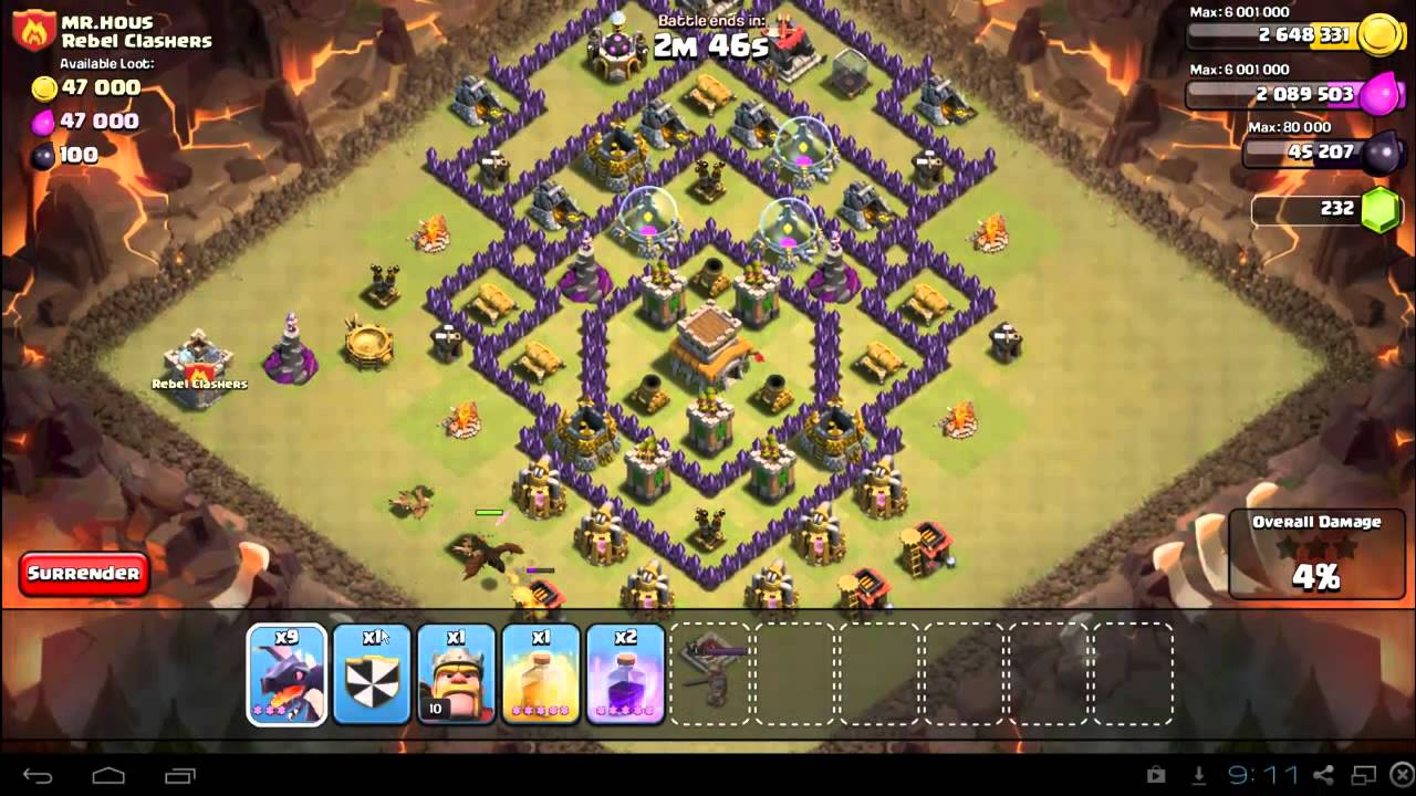 clash of clans battle strategy town hall 8
