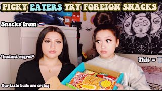 PICKY EATERS TRY FOREIGN SNACKS FROM THAILAND ft. My twin sister 😳🥴