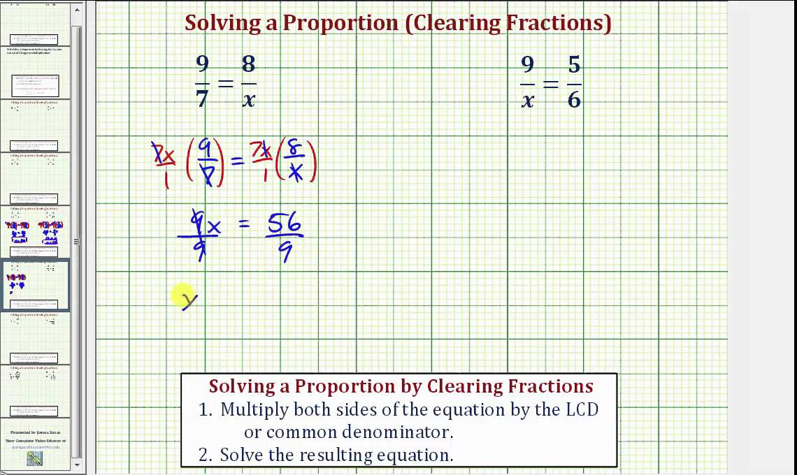 Ex  Solve A Proportion By Clearing Fractions   A  X B  C