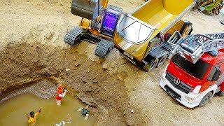 포크레인 덤프트럭 소방차 자동차 장난감 놀이 Excavator, Dump Truck Car Toys Activity