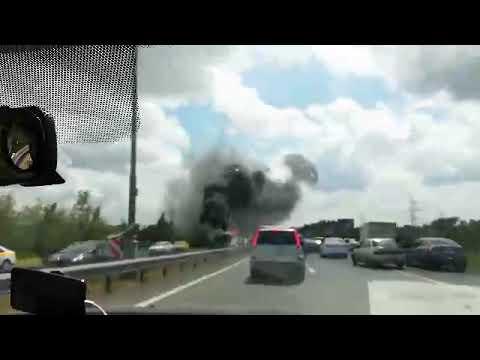 Поехали в аэропорт Домодедово, а тут пожар (горит автобус)