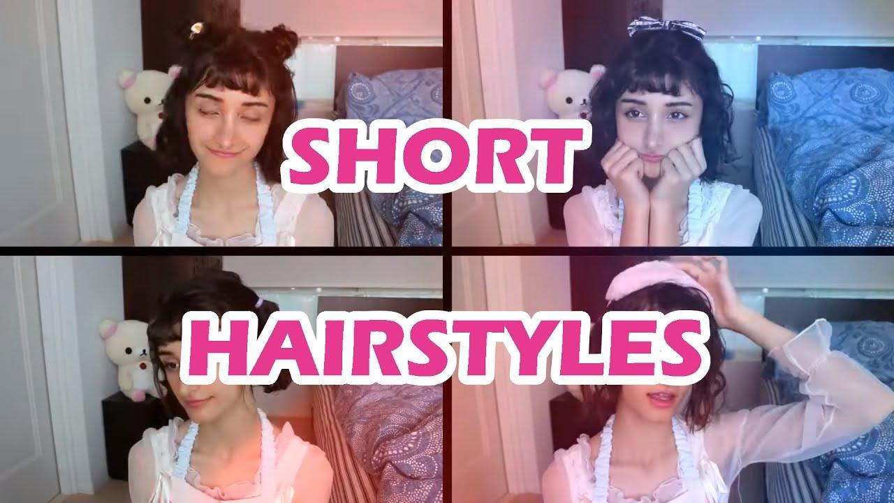 4 SIMPLE & KAWAII HAIRSTYLES FOR SHORT HAIR - YouTube