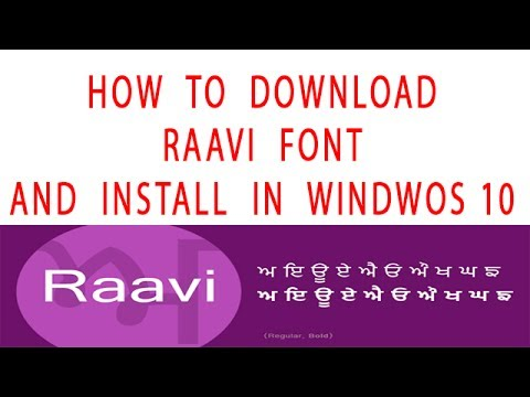 How to install raavi font in windows 10