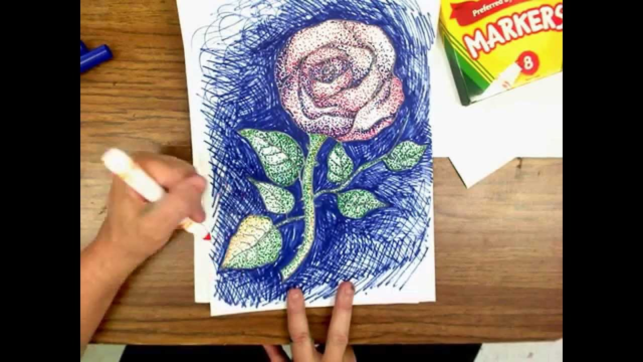 How To Draw A Rose In Pointillism Youtube