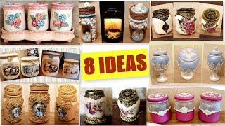 DIY / 8 Best  Ideas for recycling Glass jars  Kitchen decor