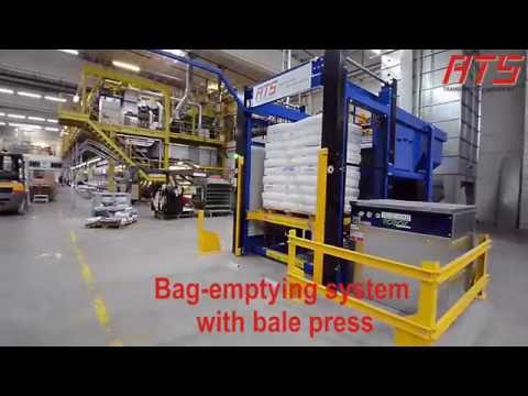 Bag cutting and opening with bale press