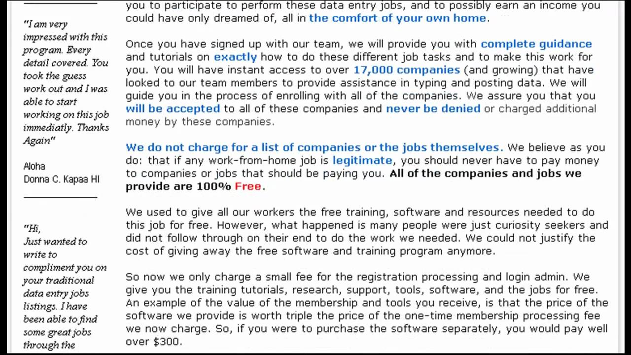 Genuine Online Data Entry Dataentry Work at Home Jobs Paid by PayPal ...