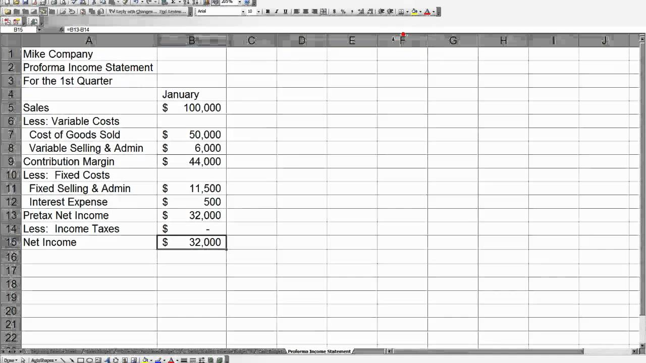 how to create an income statement in excel