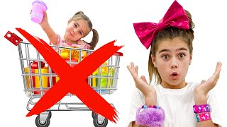 Nastya and Artem play with Mia at the store