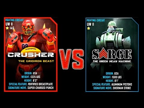 Real Steel WRB CRUSHER VS Sarge NEW Robot updating (Живая Сталь)