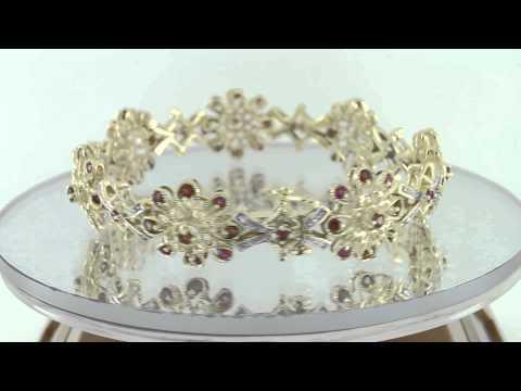 Estate 1.06ct Ruby ,Garnet & Diamond 10k Gold Bracelet DGLA Certified