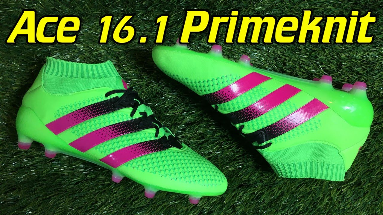 Adidas ACE 16.1 Primeknit Solar Green Shock Pink - Review + On Feet -  YouTube f62b524d6