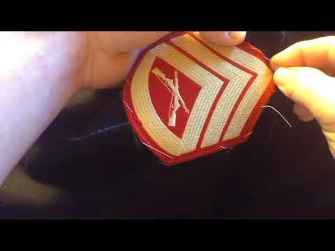 How to sew chevrons on a uniform. (Marine Corps Dress Blue Patches)