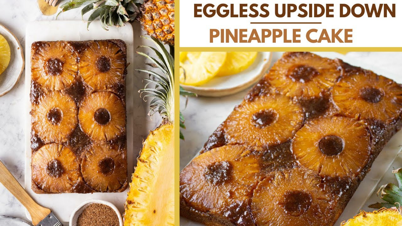 EGGLESS PINEAPPLE UPSIDE DOWN CAKE | PINEAPPLE CAKE RECIPE | BAKE WITH SHIVESH EGGLESS BAKING