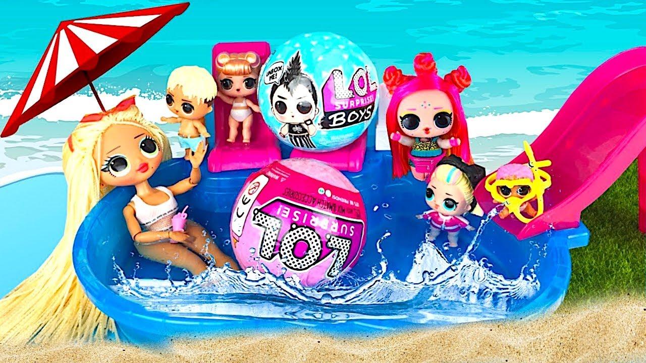 НЕ ХОЧУ КУПАТЬСЯ! Куклы Лол #мультик Пупсики в бассейне и ...