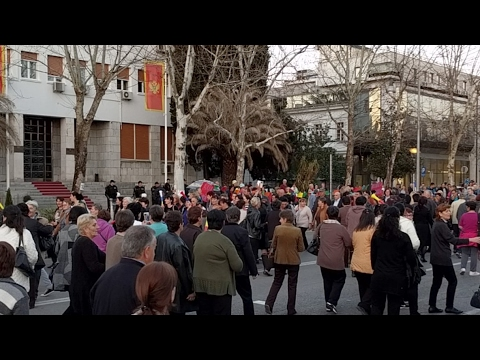 Podgorica - Mothers protest in front of the parliament building of Montenegro