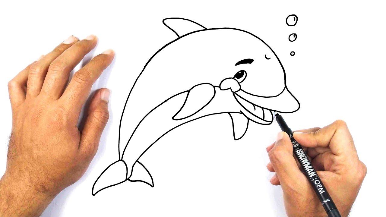 رسم دولفين بطريقة سهلة جدا للاطفال كيف ترسم دولفين خطوة بخطوة