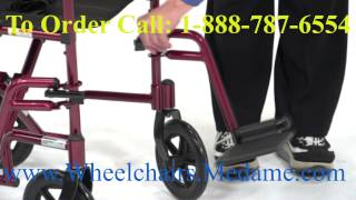 Lightweight Aluminum Transport Wheelchair 17-inch seat