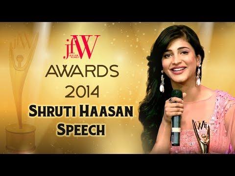 Shruti Haasan Speech | JFW Women Achiever awards 2014 | JFW Magazine