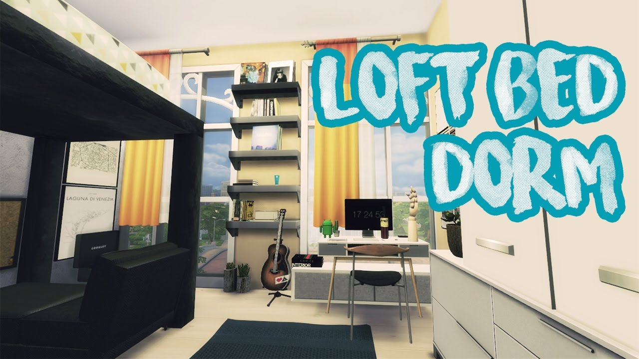 The sims 4 loft bed dorm room build youtube for How to make a loft room