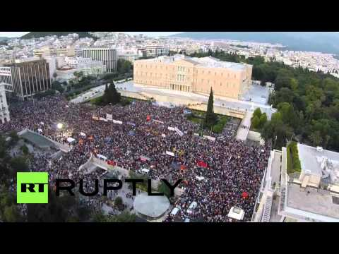Greece: Drone footage shows thousands in anti-austerity protest on Syntagma Square