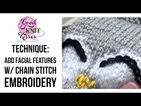 Add Facial Features to Knits with Chain Stitch Embroidery
