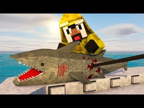 Minecraft | JAWS SHARK HUNTING CHALLENGE - Shark Hunting With Guns! (JAWS, SHARKS, BOAT MOD)