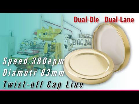 Twist-off Cap Line: 380epm Output Double-die Double-Lane O-frame Press Diameter 83mm