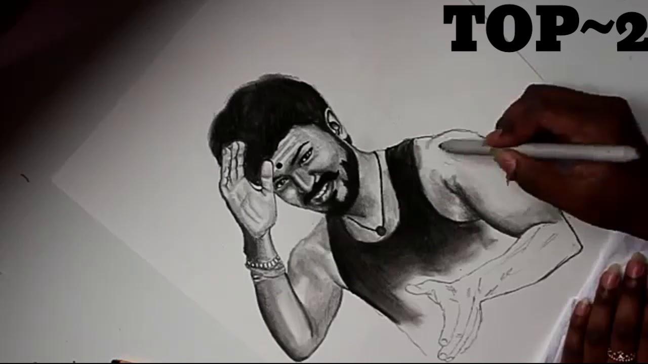Mersal vijay image top 3 pencil art - YouTube