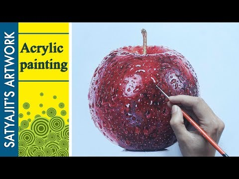 Realistic Painting | Wet apple - Acrylic on Paper.