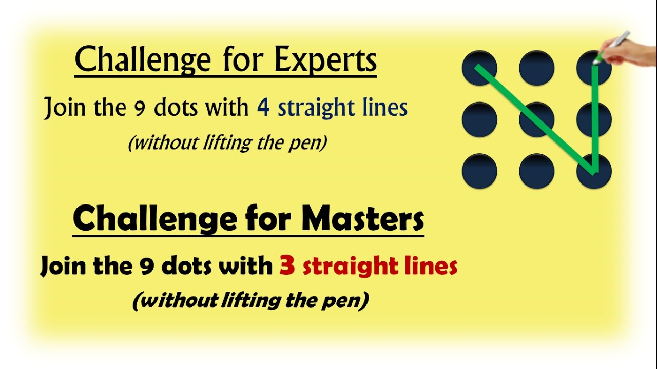 9 dots problem join with 4 lines experts join with 3 lines