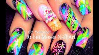 Nail Art! Neon Rainbow Nails! Dry Brush Ice Cream Nail Design Tutorial!