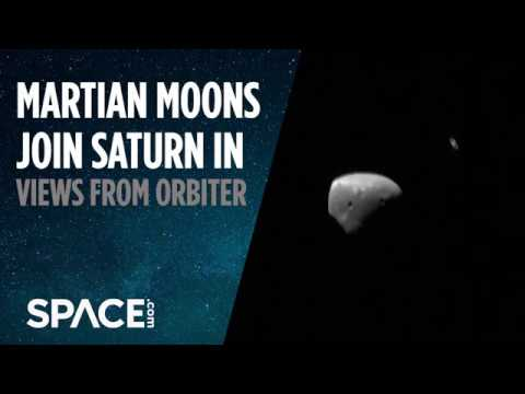 Martian Moons Join Saturn in Views from Orbiter