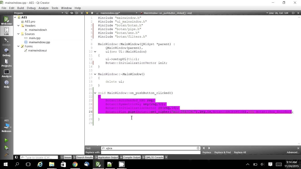 C++ Qt AES 256