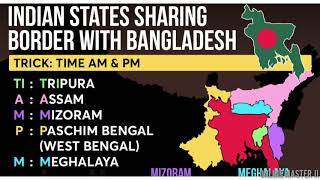 Indian States Sharing Borders With Bangladesh    Static G.K for All competitive Exams    #bangladesh