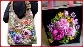 Elegant Silk Ribbon Hand  Embroidery on Hand Bags