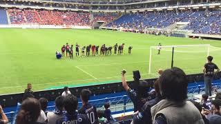 10月14日に行われたガンバ大阪vsアルビレックス新潟の試合後、応援リー...