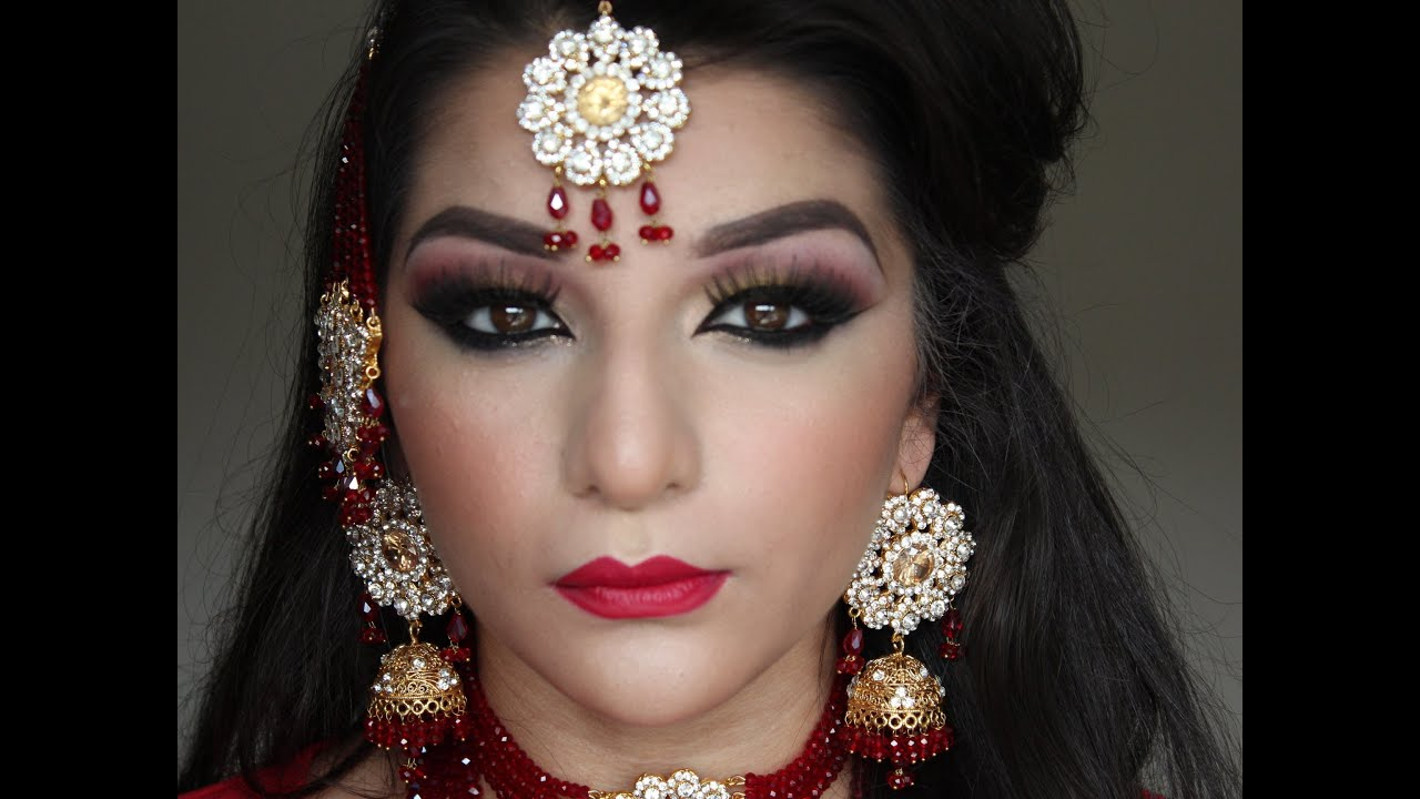 Asian bridal red and gold makeup tutorial - YouTube