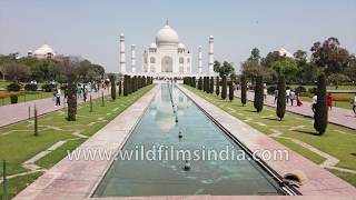 Agra Taj Mahal gyro stabilized walk-through red sandstone pillared corridors