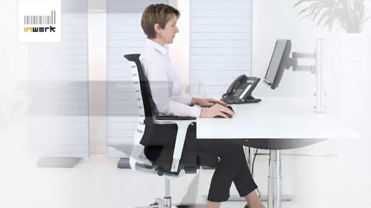 Bürostuhl ergonomisch einstellen  Arbeitsmittel richtig einstellen - Inwerk Ergonomie Berater - YouTube