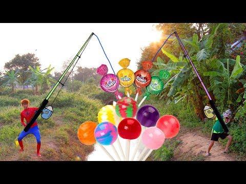 Superman Fishing Lollipop Spiderman Learn Color ICE-CREAM TOYS w/ Elsa Paint PIZZA| Learn Colors Fun